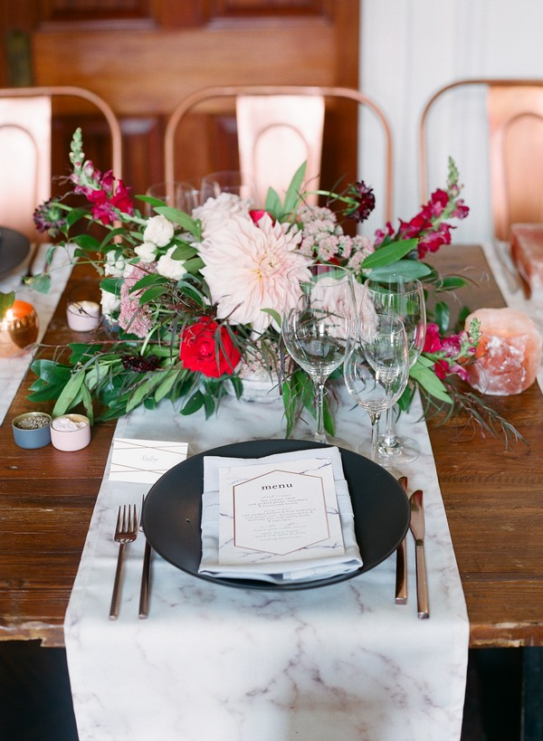 Wedding place setting with marble runner and menu