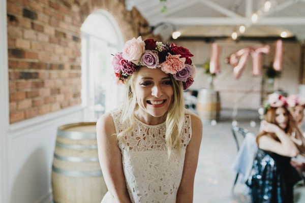 Bride-to-be wearing floral crown at her hen party