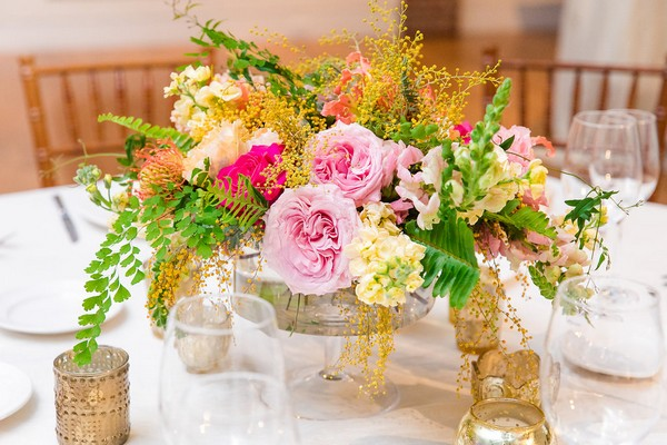 Bright wedding table flowers