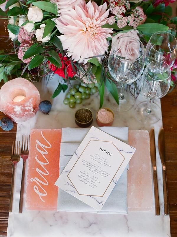 Wedding menu on top of personalised pink Himalayan salt slab