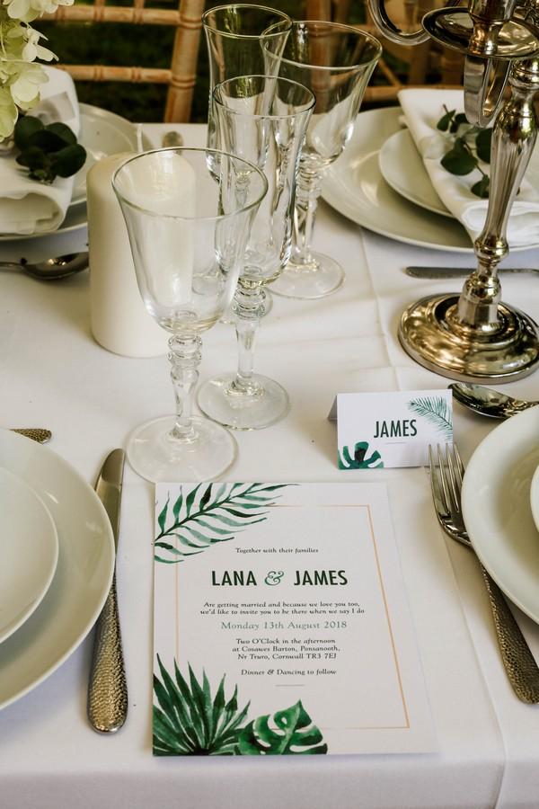 Wedding stationery with palm leaf design