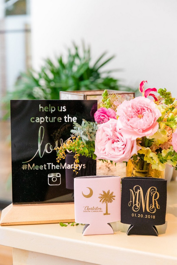 Koozies with wedding monogram