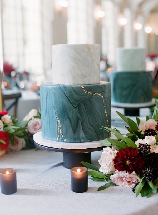 Marble effect wedding cake
