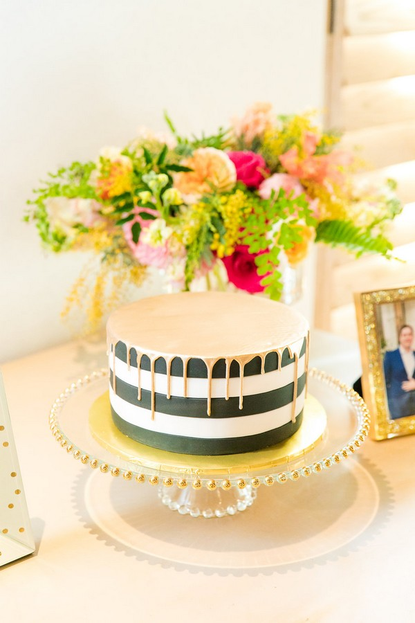 Black and white striped Kate Spade inspired wedding cake