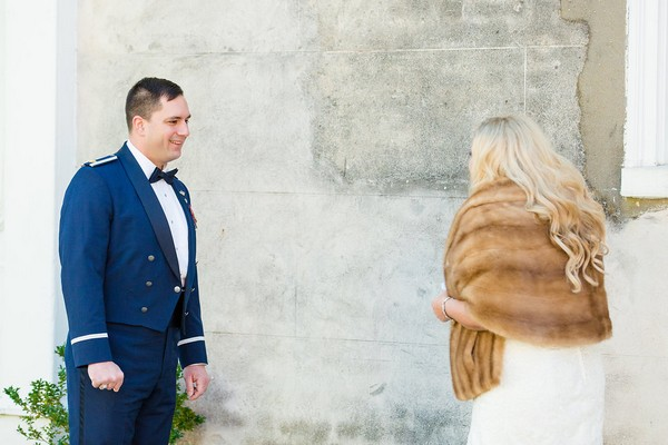 Groom turning to see bride for first look