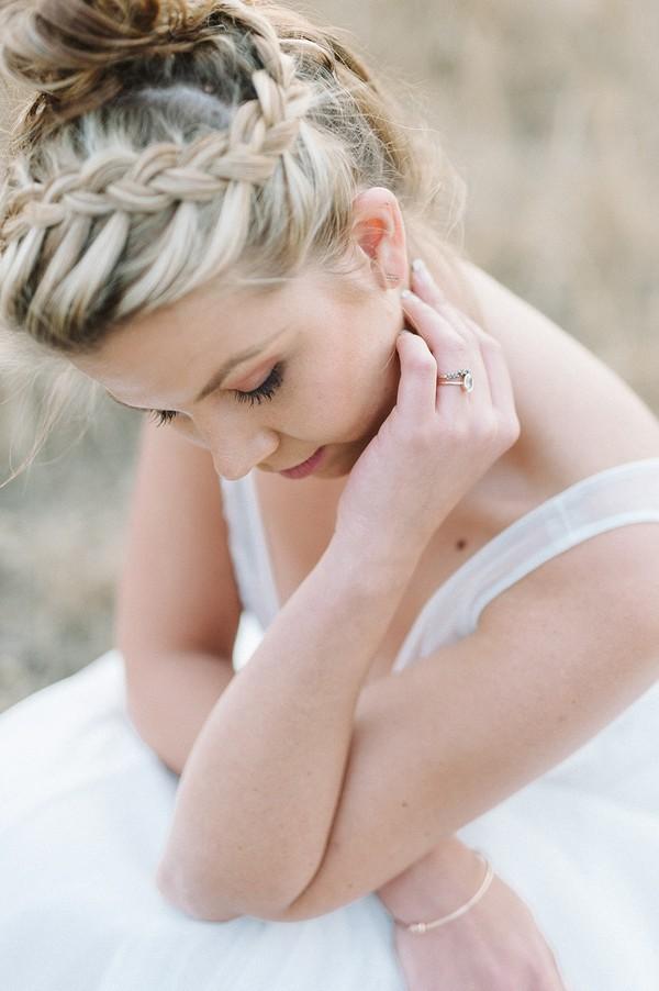 Bride with plait bun updo