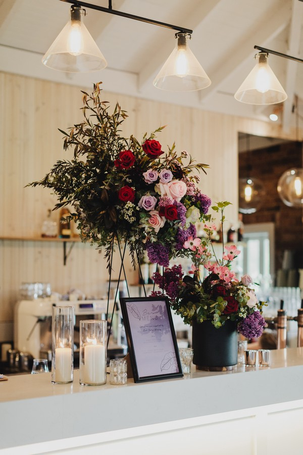 Floral display on bar