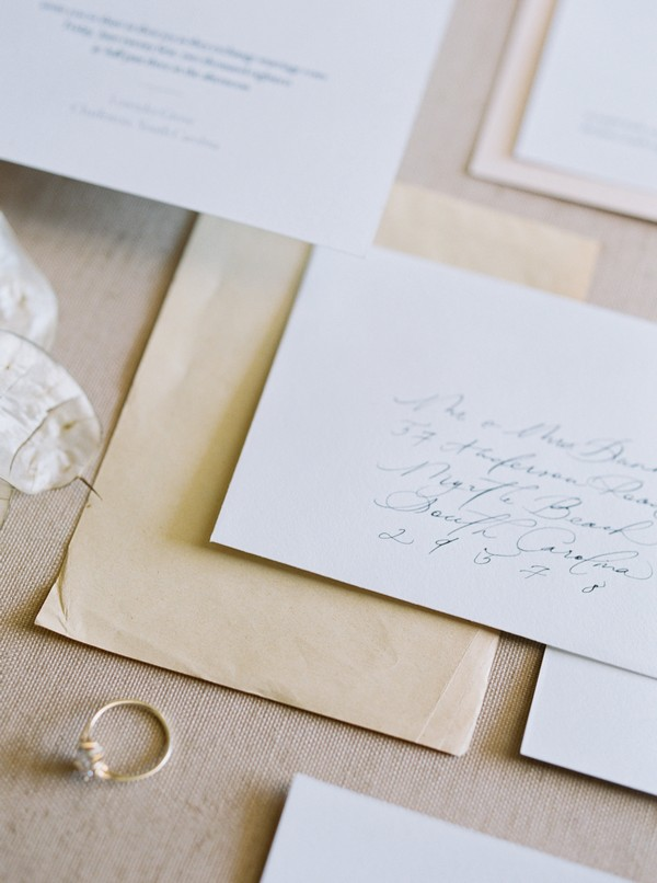 Written envelope with wedding stationery