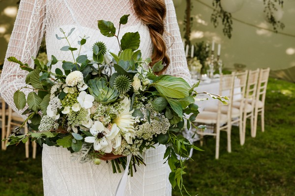 White flower and foliage bridal bouquet