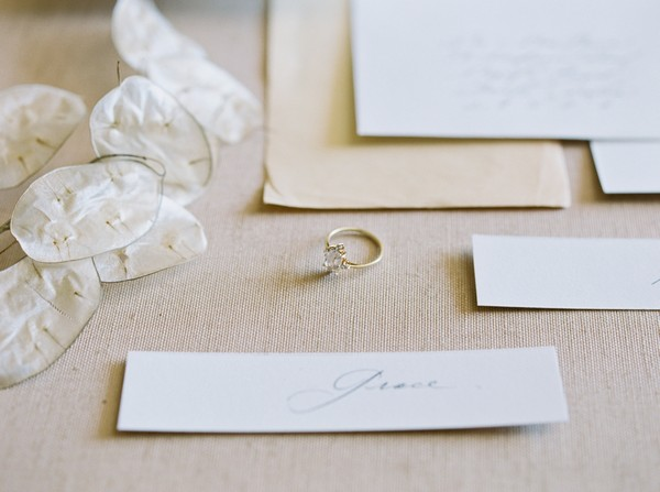 Wedding ring in middle of stationery