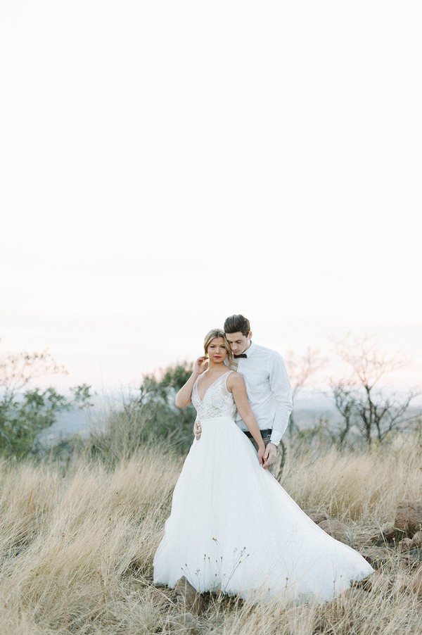 Bride and groom in South African bush