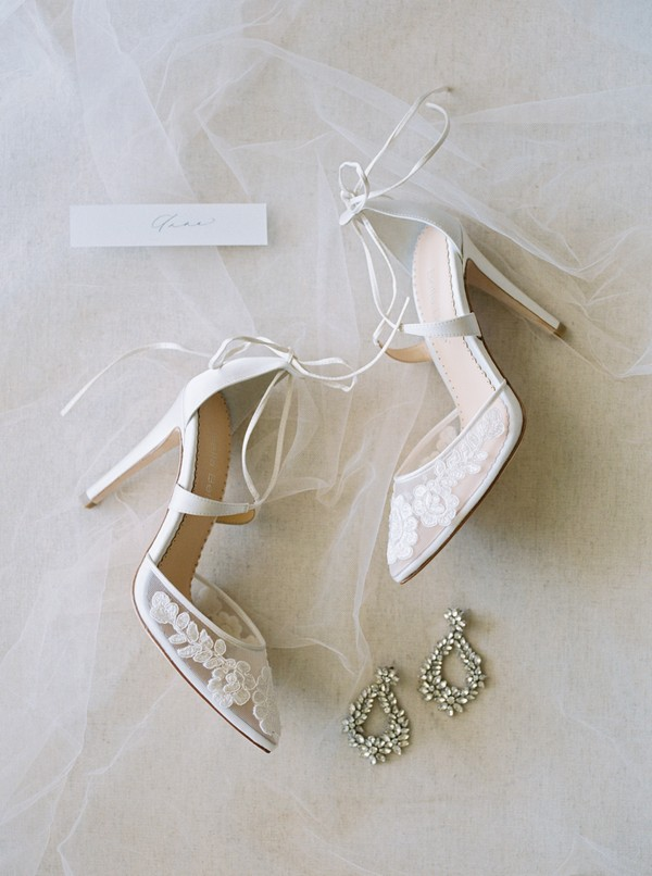 Bridal shoes with flower detail