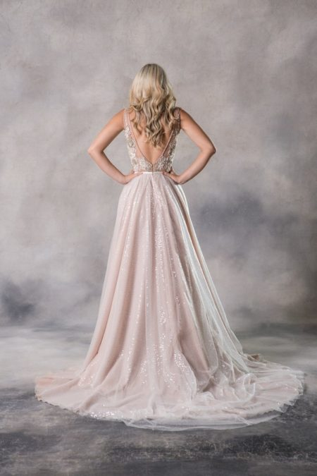 Back of Brigitte Top with Maxine Skirt from the Anna Georgina Couture Pandora 2019 Bridal Collection