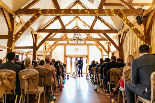 Wedding ceremony in Ceremony Barn at Sandhole Oak Barn