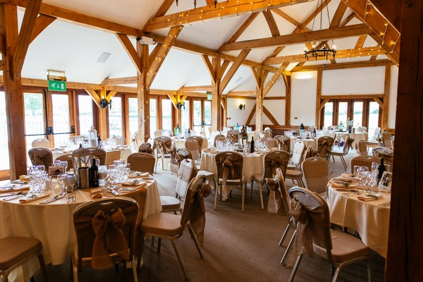 Wedding tables in Dining Barn at Sandhole Oak Barn