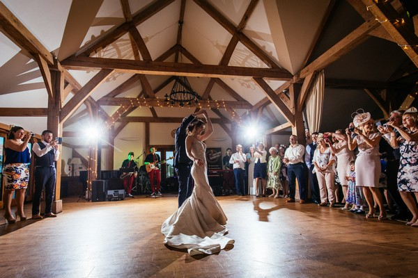 Wedding first dance at Sandhole Oak Barn