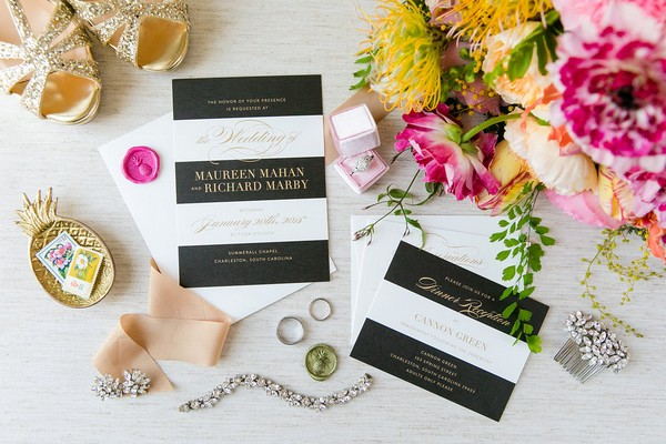 Invitations and flowers for colourful Kate Spade inspired wedding