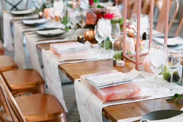Wedding table with marble, copper and pink Himalayan salt styling