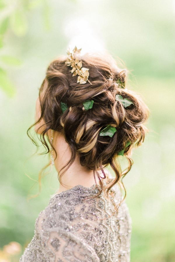 Messy Updo Bridal Hairstyle with Foliage and Headpiece