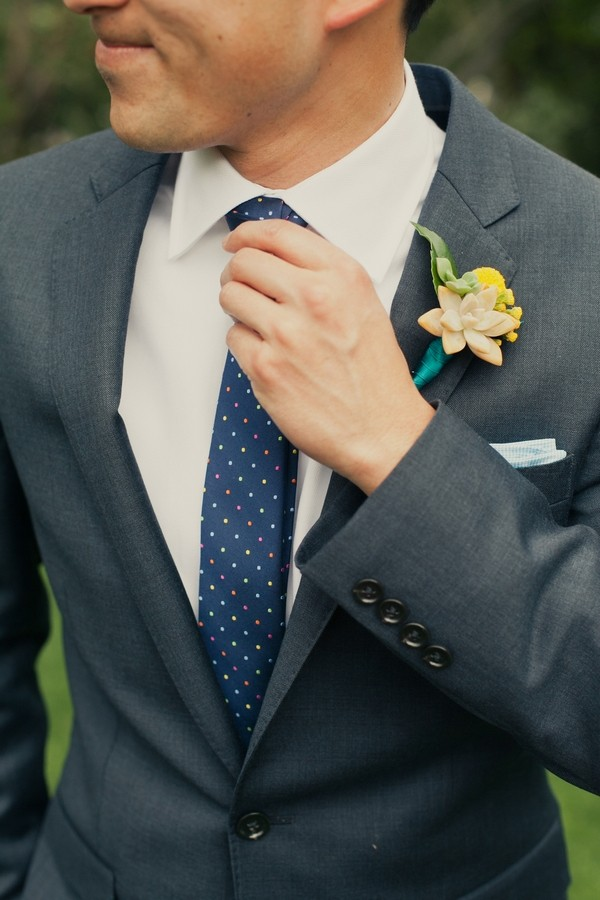 Succulent Buttonhole on Grooms Suit