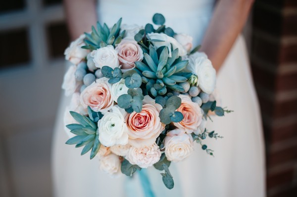 Wedding Bouquet with Roses and Succulents