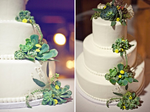 Wedding Cake Decorated with Succulents