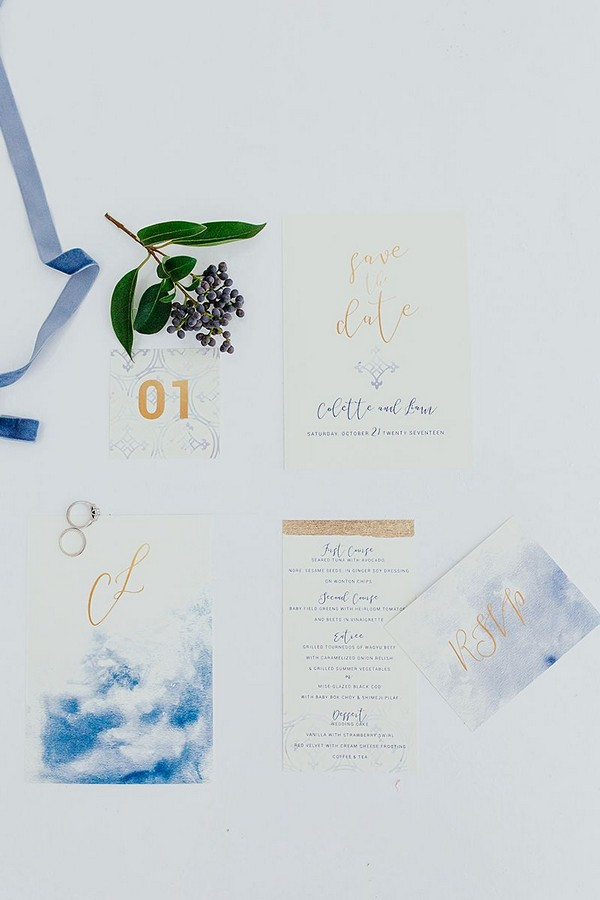 Wedding stationery with blue watercolour and copper detail
