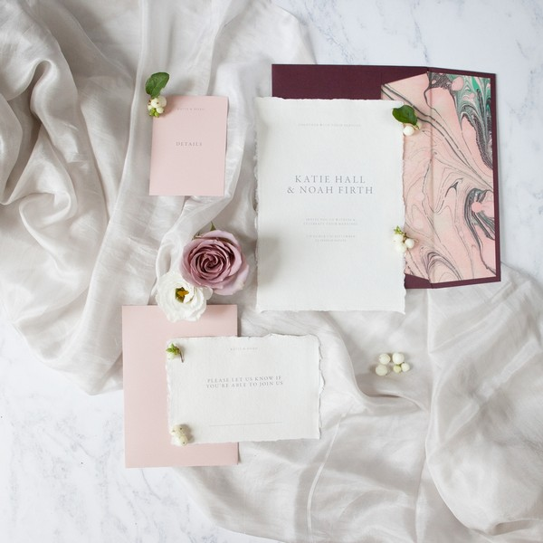 Elegant, modern wedding stationery suite
