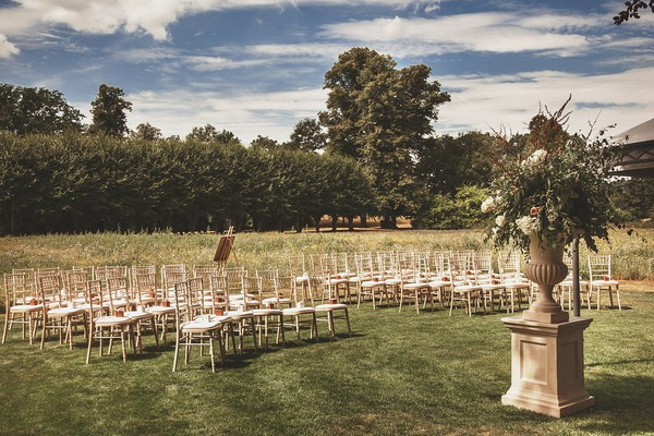 Outdoor wedding ceremony seating at Coworth Park