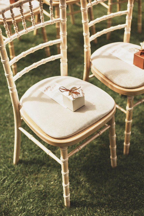 Favour box on wedding chair