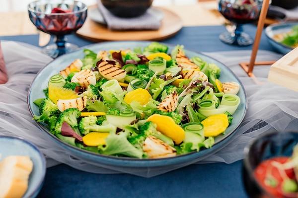 Colourful salad on wedding table