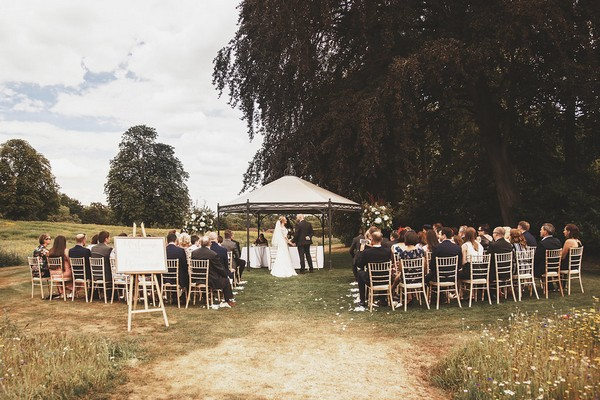 Outdoor wedding ceremony at Coworth Park