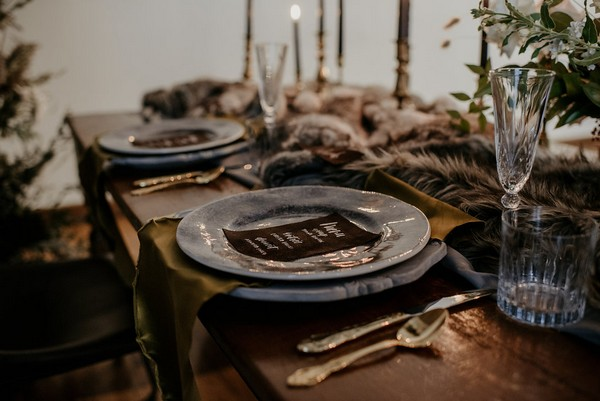 Wedding place setting with grey plate