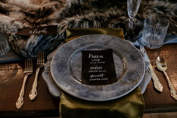 Wedding menu on grey plate