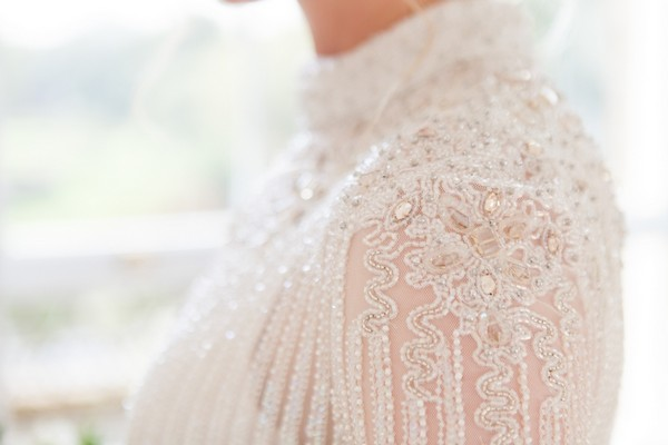 Beading on bride's wedding dress