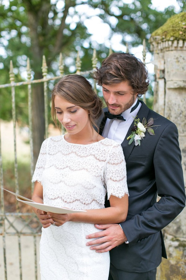 Bride reading love letter from groom