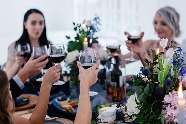 Toast at wedding table