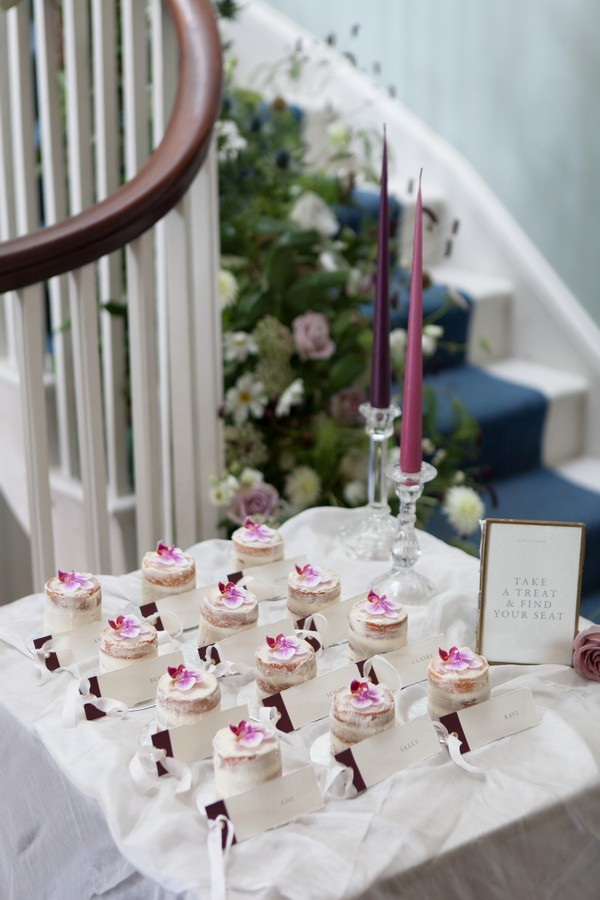 Small cakes used for seating plan