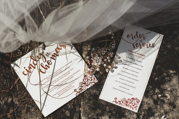 Copper themed wedding stationery
