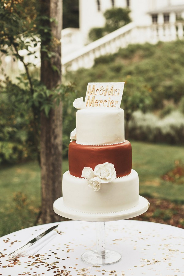 Ivory and copper wedding cake