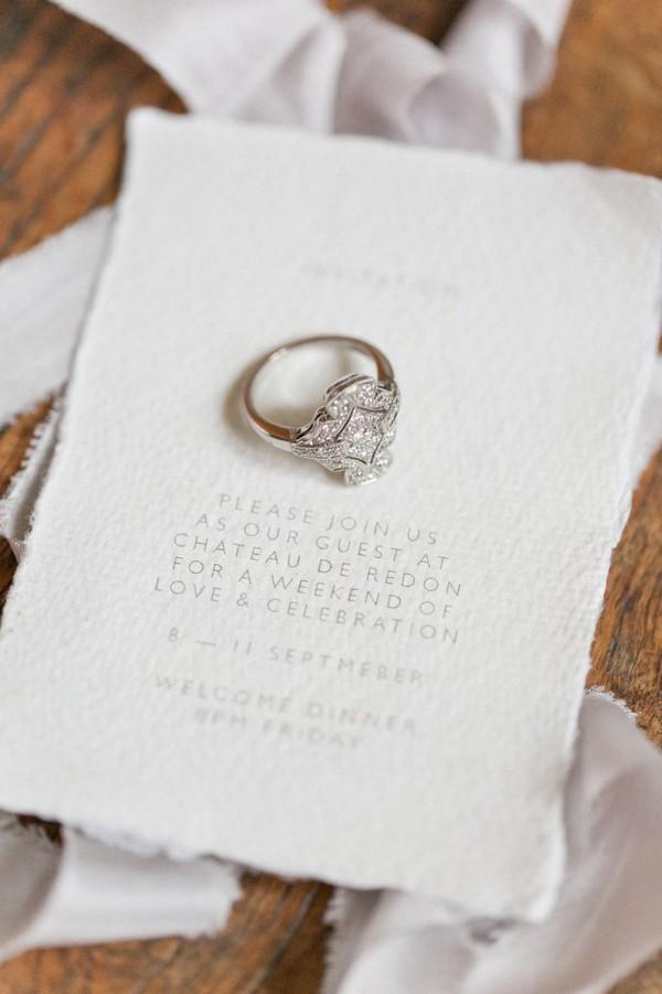 Wedding ring on invitation