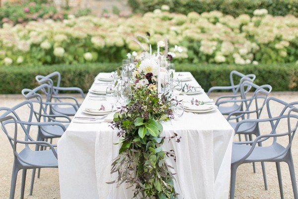 Table with organic wedding styling