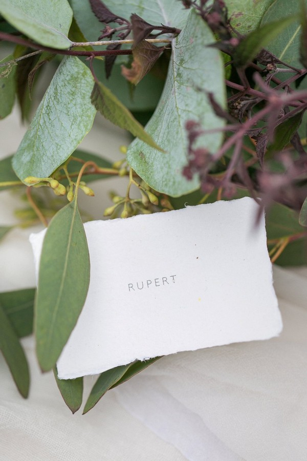 Simple wedding place name card