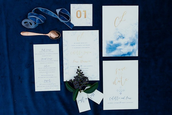 Blue and copper winter wedding stationery suite