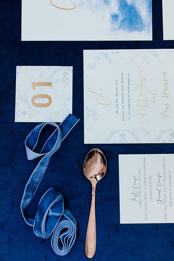 Blue and copper winter wedding stationery