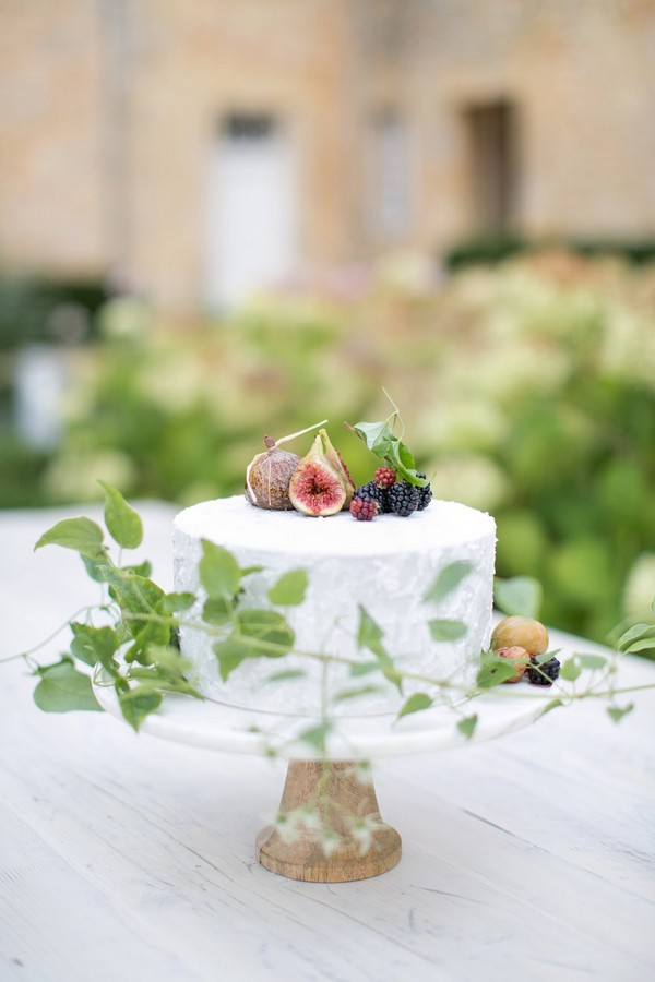 Wedding cake topped with fruit