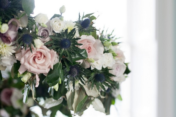 Rose and thistle wedding flowers