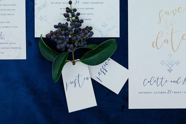 Calligraphy wedding name tags