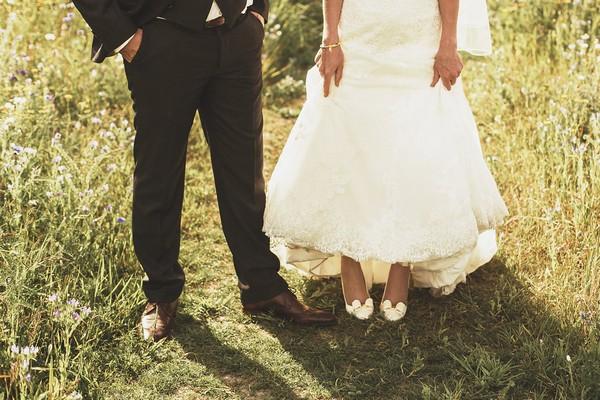 Bride and groom's legs