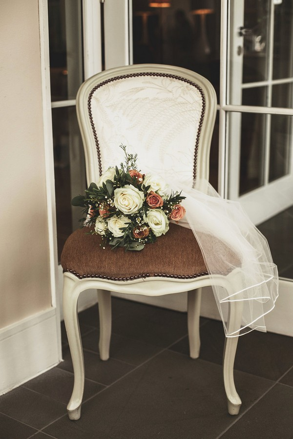 Wedding bouquet on chair